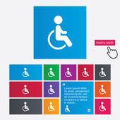 Icona segno disabili. umano sul simbolo della sedia a rotelle. — Vettoriale Stock