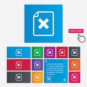 File document stop icon. Delete doc button. — Stock Vector
