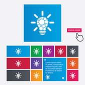 Işık lamba işareti simgesi. ampul ile daire sembolü — Stok Vektör