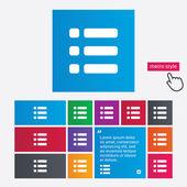 Icona del segno di elenco. simbolo di opzione di visualizzazione del contenuto. — Vettoriale Stock