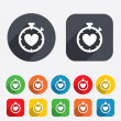 Heart Timer sign icon. Stopwatch symbol. — Stok fotoğraf #44822435