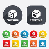 3D Print sign icon. 3d cube Printing symbol. — Stock Photo