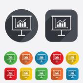 Presentation billboard sign icon. Diagram symbol — Stock Photo