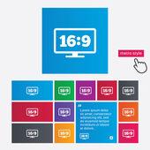 Aspect ratio 16:9 widescreen tv. Monitor symbol. — Stock Photo