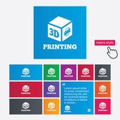 3D Print sign icon. 3d cube Printing symbol. — 图库照片