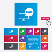 BYOD sign icon. Bring your own device symbol. — Foto de Stock