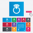 Jewelry sign icon. Ring with diamond symbol. — Stock Photo #44831929