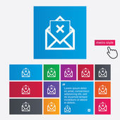 Mail delete icon. Envelope symbol. Message sign — Stock Photo