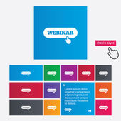 Webinar with hand pointer sign icon. Web study — Stock Photo