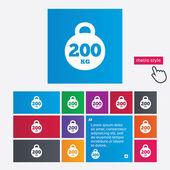 Weight sign icon. 200 kilogram. Sport symbol — Stock Photo