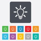 свет лампы знак значок. идея символ. — Cтоковый вектор