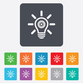 свет лампы знак значок. лампа с шестеренка. — Cтоковый вектор