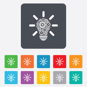 Light lamp sign icon. Bulb with gears symbol. — Stock vektor