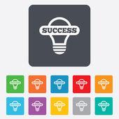Light lamp sign icon. Bulb with success symbol — Vector de stock