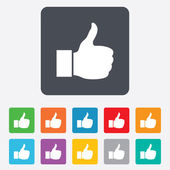 Like sign icon. Hand finger up symbol. — Vector de stock