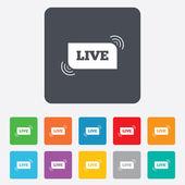 Live sign icon. On air stream symbol. — Vector de stock