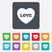 Heart sign icon. Love symbol. — Vector de stock
