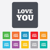 Love you sign icon. Valentines day symbol. — Stock Vector