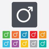 Icona di segno maschile. pulsante di sesso maschileerkek işareti simgesi. Erkek cinsiyet düğmesi. — Vettoriale Stock