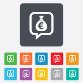Money bag sign icon. Euro EUR currency. — Stock vektor