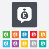 Money bag sign icon. Pound GBP currency. — Stockvector