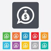 Icona segno sacchetto di soldi. valuta usd dollaro. — Vettoriale Stock