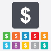Dollar sign icon. USD currency symbol. — Stock Vector
