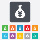 Ikona podepsat pytel peněz. japonský jen jpy měna. — Stock vektor