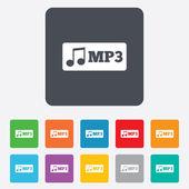 значок знак формата mp3 музыки. музыкальный символ. — Cтоковый вектор