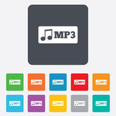 Mp3 music format sign icon. Musical symbol. — Vector de stock