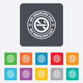 No smoking day sign icon. Quit smoking day. — Stok Vektör