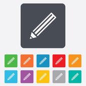знак значок карандаша. редактирование содержимого кнопки. — Cтоковый вектор