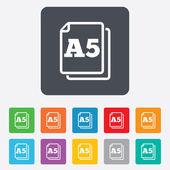 Paper size A5 standard icon. Document symbol. — Vector de stock