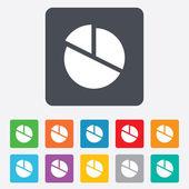 Pie chart graph sign icon. Diagram button. — Vector de stock