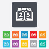 Cookbook sign icon. 25 Recipes book symbol. — Stock Vector
