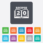 Cookbook sign icon. 20 Recipes book symbol. — Stock Vector
