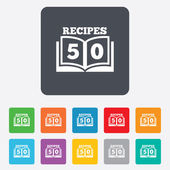 Cookbook sign icon. 50 Recipes book symbol. — Stock Vector