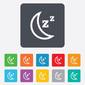 Sleep sign icon. Moon with zzz button. — Stock Vector