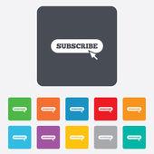 Subscribe with cursor pointer icon. Membership — Stock Vector