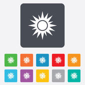 Sun sign icon. Solarium symbol. Heat button. — Stock Vector
