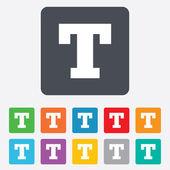 Text edit sign icon. Letter T button. — Vector de stock