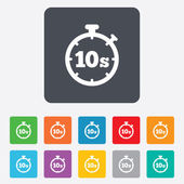 Timer 10s sign icon. Stopwatch symbol. — Stock Vector