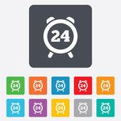 24 hodin času ikonu podepsat. symbol hodin alarmu. — Stock vektor