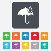 Umbrella sign icon. Water drop symbol. — Vector de stock