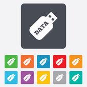 Usb Stick sign icon. Usb flash drive button. — Vector de stock