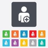 добавьте знак значок пользователя. добавить друга символ. — Cтоковый вектор