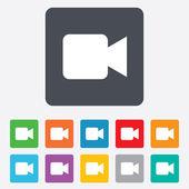 знак значок видео камеры. кнопку видео контента. — Cтоковый вектор