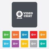 Video chat sign icon. Webcam video talk. — Stock Vector