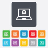 Video chat laptop sign icon. Webcam talk. — Stock Vector