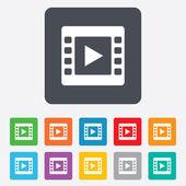 видео знак значок. символ кадра видео. — Cтоковый вектор